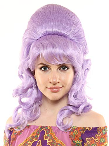 Premium Quality 1960's Beehive Wig with Natural Curls (Lavender)]()