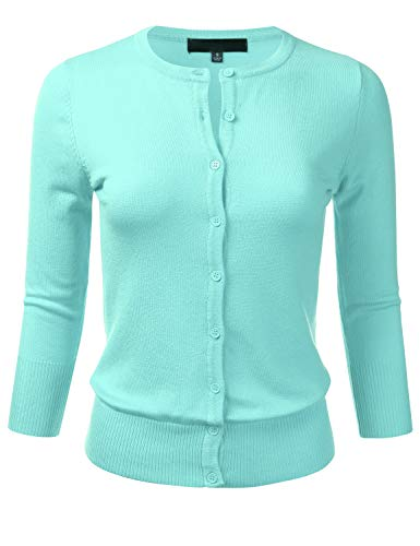 Women's Button Down 3/4 Sleeve Crew Neck Knit Cardigan Sweater Iceblue L