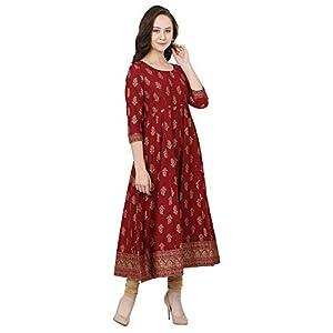 Women's Gold Print Maroon Anarkali Dress