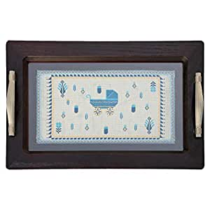Turathna DCO 071-Blue Baby Boy Wooden Tray - Stroller Handmade Cross Stitch - 1 Piece