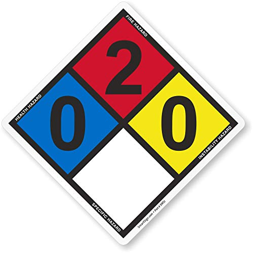 """Pack Of 5 NFPA Labels For Diesel Fuel Oil No. 2, Rating (0,2,0) - By SmartSign 
