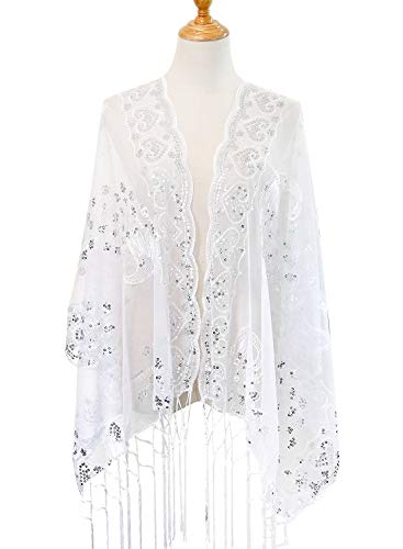 L'vow Women's Gatsby 1920s Scarf Glitter Mesh Sequin Wedding Cape Shawl Fringed Evening Wrap(White) - Cape Glitter