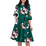 KYLEON Dress for Women A-Line Pocket 3/4 Sleeve Boho Floral Elegant Loose Party Casual Summer Midi Swing Dress with Belt Green