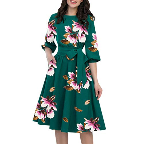Women Belt Midi Dress | Vintage Floral Half Sleeve Casual Work Party Dress | Pleated A-Line Swing Dresses with Pockets (XXL, Green)