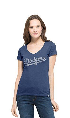 MLB Los Angeles Dodgers Women's Flanker MVP V-Neck Tee, Medium, Bleacher Blue