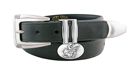 NCAA Kansas Jayhawks Men's Leather Concho Tapered Tip Belt, Black, 34 -
