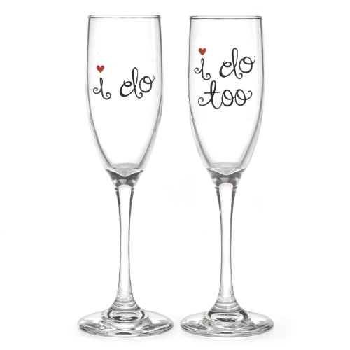 Goblets Wedding Toasting - Hortense B. Hewitt Champagne Toasting Flutes Wedding Accessories, I Do and I Do Too, Set of 2
