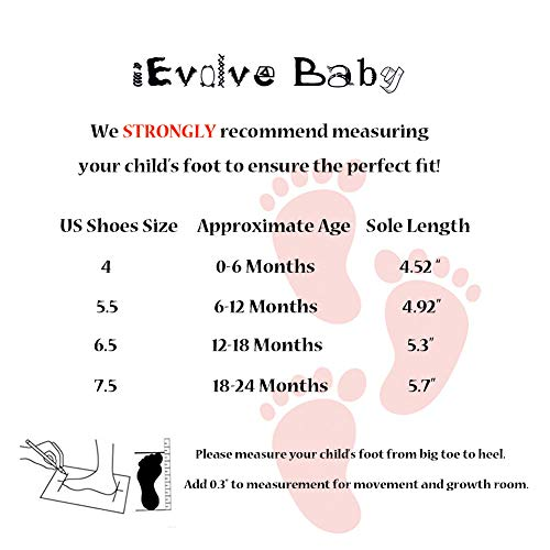 iEvolve Baby Girls Boys Shoes Baby Toddler Soft Sole Prewalker First Walker Crib Shoes Baby Moccasins