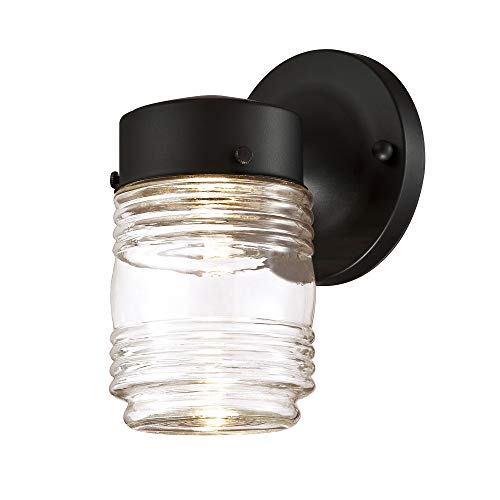 Design House 587246 Jelly Jar Indoor/Outdoor LED Wall Light, Black Design House Jelly Jar