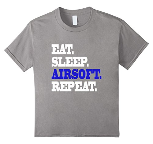 Price comparison product image Kids Eat Sleep Airsoft Field Gun Play Bullet Repeat Life T Shirt 12 Slate