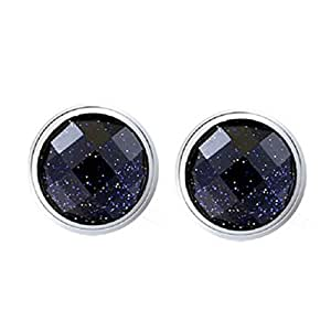 Unisex Sterling Silver Plated Vintage Black Onyx Agate Round Rhombic purple sands frosted Womens Stud Earrings,8MM