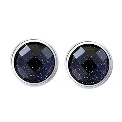 Unisex Sterling Silver Plated Vintage Black Onyx Agate Round Rhombic purple sands frosted Womens Stud Earrings,8MM Agate Round Earrings