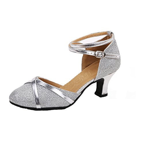 WYMNAME Mujeres Zapatos De Baile Latino,Tacones Mediados Fondo Blando Zapatos De Baile Social Zapatos De Baile Sandalia La Plata
