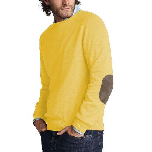Parisbonbon Men's 100% Cashmere Elbow Pad Sweater Color Y...