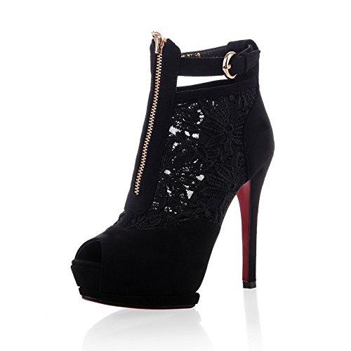 AdeeSu Womens Hollow Out Spikes Stilettos Platform Microfiber Sandals SLC03256 Black WdWz0RIh1