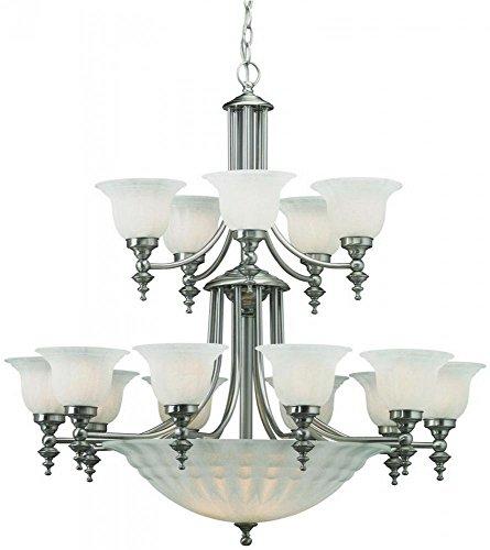 - Dolan Designs 668-09 15+5Lt 2Tier Satin Nickel Richland 20 Light 2 Tier Bowl Chandelier