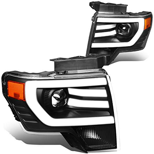 Pair Black Housing Amber Side 3D LED DRL Projector Headlight Lamps Compatible with Ford F150 09-14