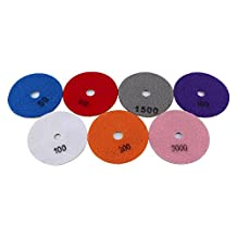 Nixikoo® Superior Diamond Wet Dry Polishing Pads Disc Set Kit for Granite Marble Concrete Stone Buffing Polishing,4 inch ,Pack of 7,Includes 7 Grinding Discs(#50/100/300/500/800/1500/3000)