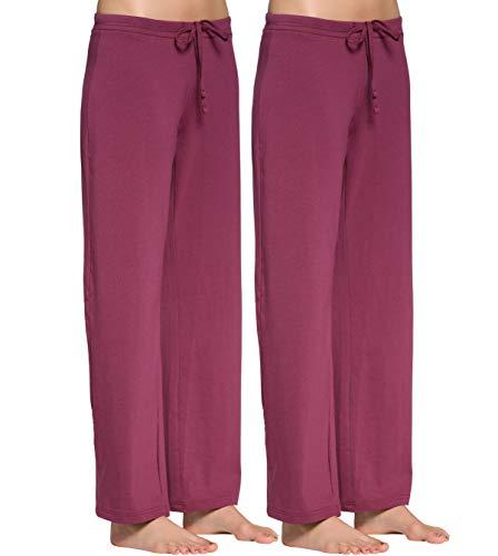 CYZ Women's Basic Stretch Cotton Knit Pajama Sleep Lounge Pants-BordeauxMelange2PK-2XL