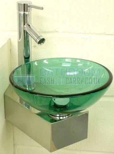 GLASSBASINS © ® ™ Cloakroom Sink Glass Wash Basin Small Compact Green Round  310 Corner Inc