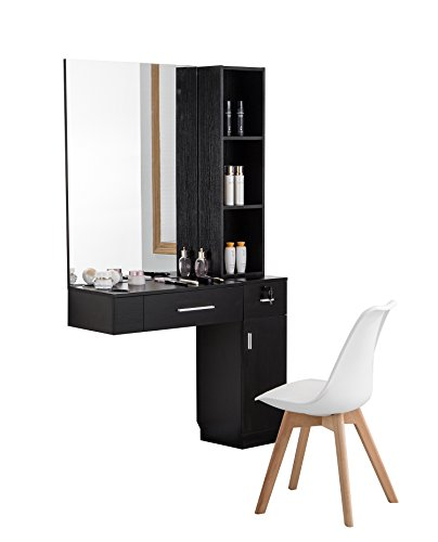 BarberPub Wall Mount Hair Styling W/Mirror Barber Station Dressing Table Beauty Salon Spa Equipment...