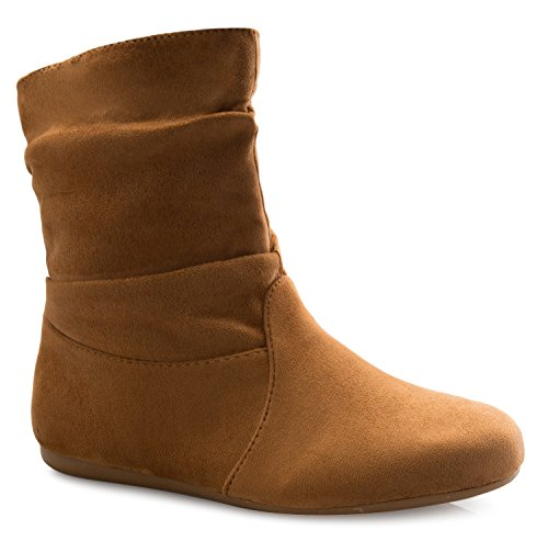 1/2 Inch Ankle Sexy Boot - OLIVIA K Womens Low Heel Slouch Suede Slip On Casual Ankle Boots Ring Buckle Side Zipper