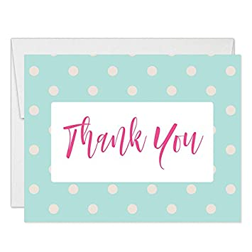 Amazon Com Pink Mint Thank You Cards With Envelopes Pack Of 50