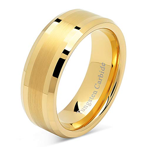 8mm Men's Tungsten Carbide Ring Wedding Band 14k Gold Plated Jewelry Bridal Size 8-16 (16) ()