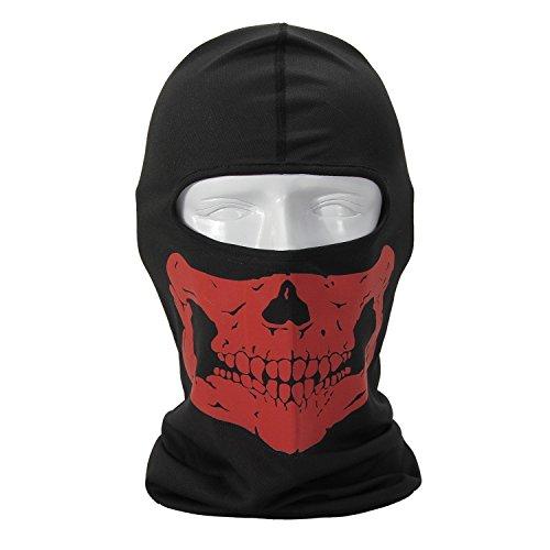 Skull Skeleton Contrast Color Cycling Hood Cosplay CS Mask Skiing Neck Warmer Balaclava (Red)