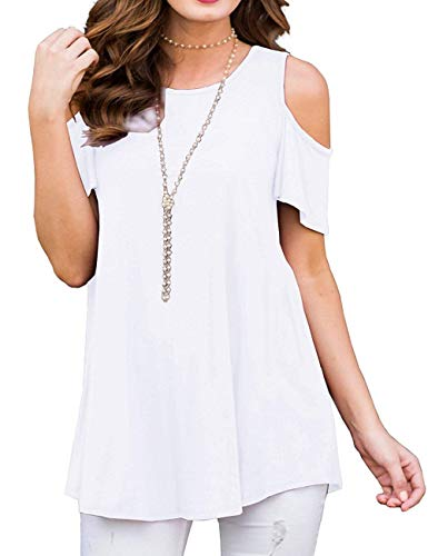 Sedimond White T Shirts for Women Short Sleeve Comfy Summer Loose Fitting Cold Shoulder Tunics Tops M