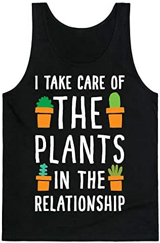 LookHUMAN I Take Care of The Plants in The Relationship Black Unisex Tank