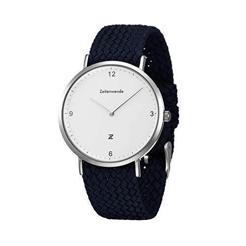 Zeitenwende Turn of The Century Men's Analog Quartz Watch | Super Lightweight Swiss Ronda 762 Wrist Watch | Adjustable Navy Perlon Bracelet | Minimalist Slim Design, White dial