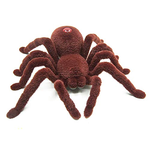 CMrtew ❤️ 2018 April Fool Halloween Holiday Simulation Remote Control Spider Realistic RC Araneid Shine Eyes Tricky Scary Toy Funny Prank Gift (Brown, 17x16x5cm) ()