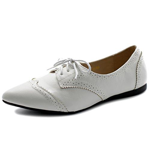 Ollio Women's Ballet Shoe Flat Enamel Pointed Toe Oxford M1818 (6.5 B(M) US, White)