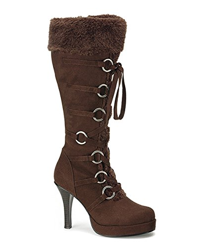 Brown Viking Boots (Womens High Heel Boot 3 3/4'' Brown Knee High Fur Trim Viking Theatre Costume Size: 6)