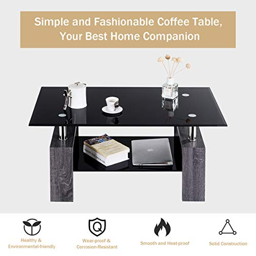 home & kitchen, furniture, living room furniture, tables,  coffee tables  on sale, Tangkula Glass Coffee Table Modern Simple Style Rectangular Wood Legs End Side Table Living Room Home Furniture with Shelf (Black) deals5