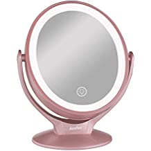 Makeup Vanity Mirror with 21 LED Lights,1x / 7x Magnification Double Sided 360° Rotation LED Lighted Makeup Mirror with Touch Screen Dimming,Portable Countertop Cosmetic Mirror Rechargeable,Rose Gold