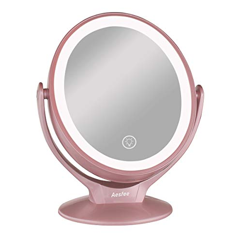 Makeup Vanity Mirror with 21 LED Lights,1x / 7x Magnification Double Sided 360° Rotation LED Lighted Makeup Mirror with Touch Screen Dimming,Portable Countertop Cosmetic Mirror Rechargeable,Rose Gold - Rose Mirror