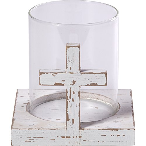Precious Moments Rustic Farmhouse Distressed Cross Wood & Glass Votive Candle Holder Home Decor 173429 ()