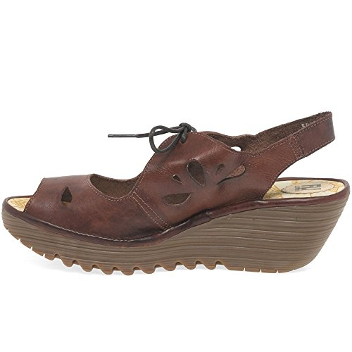 Colmar Up Brown Sandali Lace Fly Wedge Womens Yend London FanX8qR