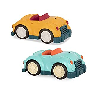 Wonder Wheels by Battat - Roadsters Combo Set - Blue & Yellow Toy Roadster Cars (2Piece) – 100% Recyclable