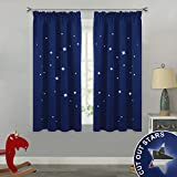 PONY DANCE Blackout Curtains for Boys - Kids Star Curtain Panels Cut Out by Laser Short Light Block Drapes with Tape Top for Bedroom, 2 Pieces, Wide 46' by Depth 54', Navy Blue