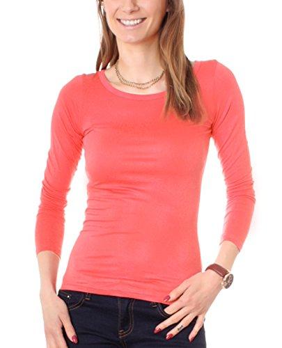 Fragola Moda - Camiseta de manga larga - Básico - Cuello redondo - para mujer Koralle
