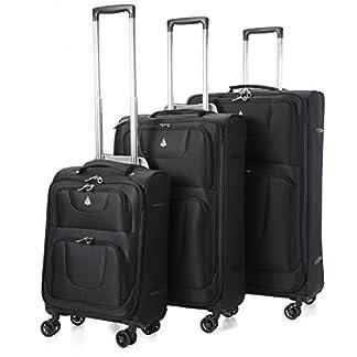 Aerolite Juego de maletas, negro (Negro) – AERO9978 BLACK 3 PCS 21/26/29