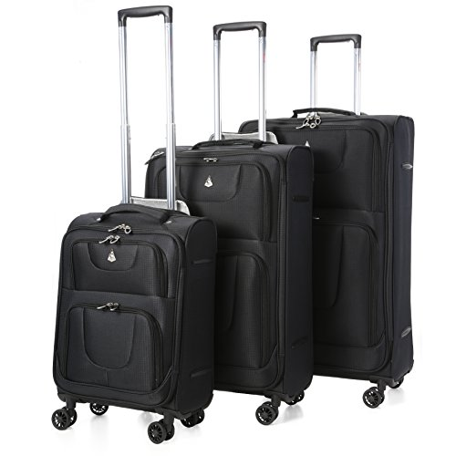 "Aerolite Super Lightweight 8 Wheel Spinner Luggage Suitcase Travel Trolley Cases (Black, 21"" Cabin + 26"" + 29"", 3 Piece Set)"