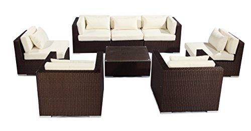 cker Outdoor Furniture Garden Patio Sofa Sectional Modify-It Aloha Molokai 8 Piece Set, Ivory (Ivory Wicker Ottoman)