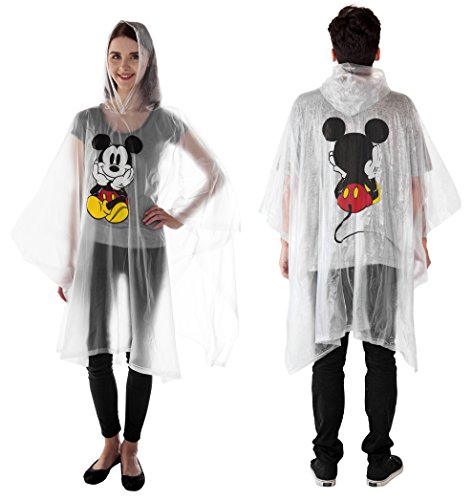 Disney 1-Pack Mickey Mouse Rain Poncho Hoodie Front Back Print (Mickey - Adult)