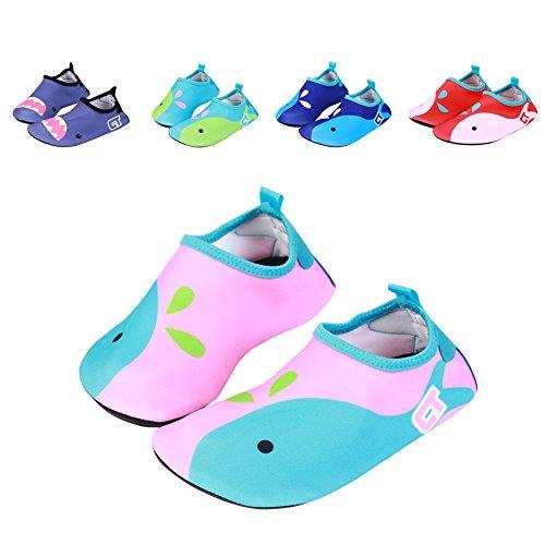 Breathable Anti-slip Barefoot Quick-Dry Girl Boy Kids Water Sports Shoes Skin Cartoon Aqua Socks for Swim Beach Pool Surf Yoga Pink US Toddler 3-4.5M