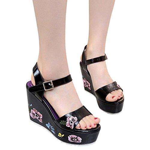 Girl élégantes compensées noir talons pour d'été à étudiante à talons chaussures hauts pour compensées 35 chaussures Sandales femmes talon 39 Sandales Leey femmes moyen hauts chaussures wIE8XqC
