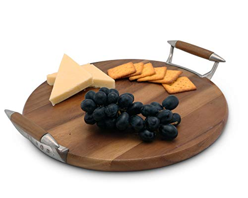 Vagabond House Modern Tribeca Collection Cheese Board with Teak and Pewter Handles - 13 Inches Diameter